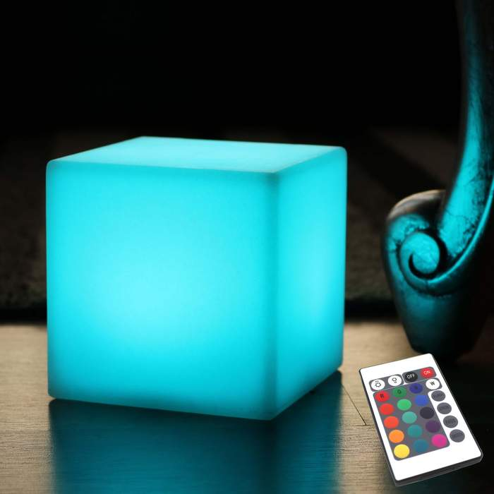 10cm LED light up Cube Table Lamps, RGB Glow Cubes On Tables