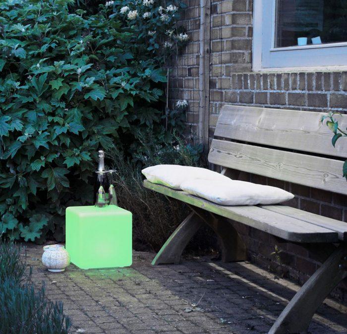 40cm Glow LED Cube Seat Stool, RGB Outdoor Lighting Cube