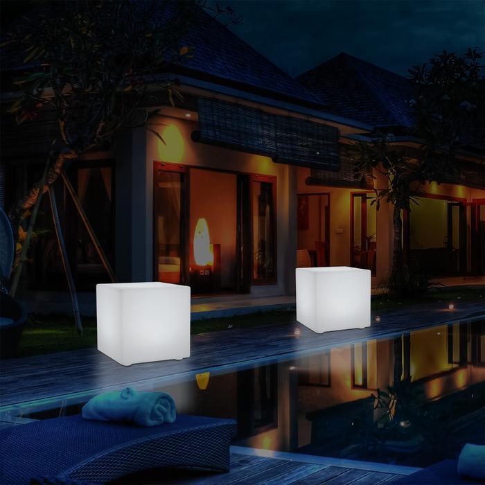 50cm Warm White Lighting Cube Coffee