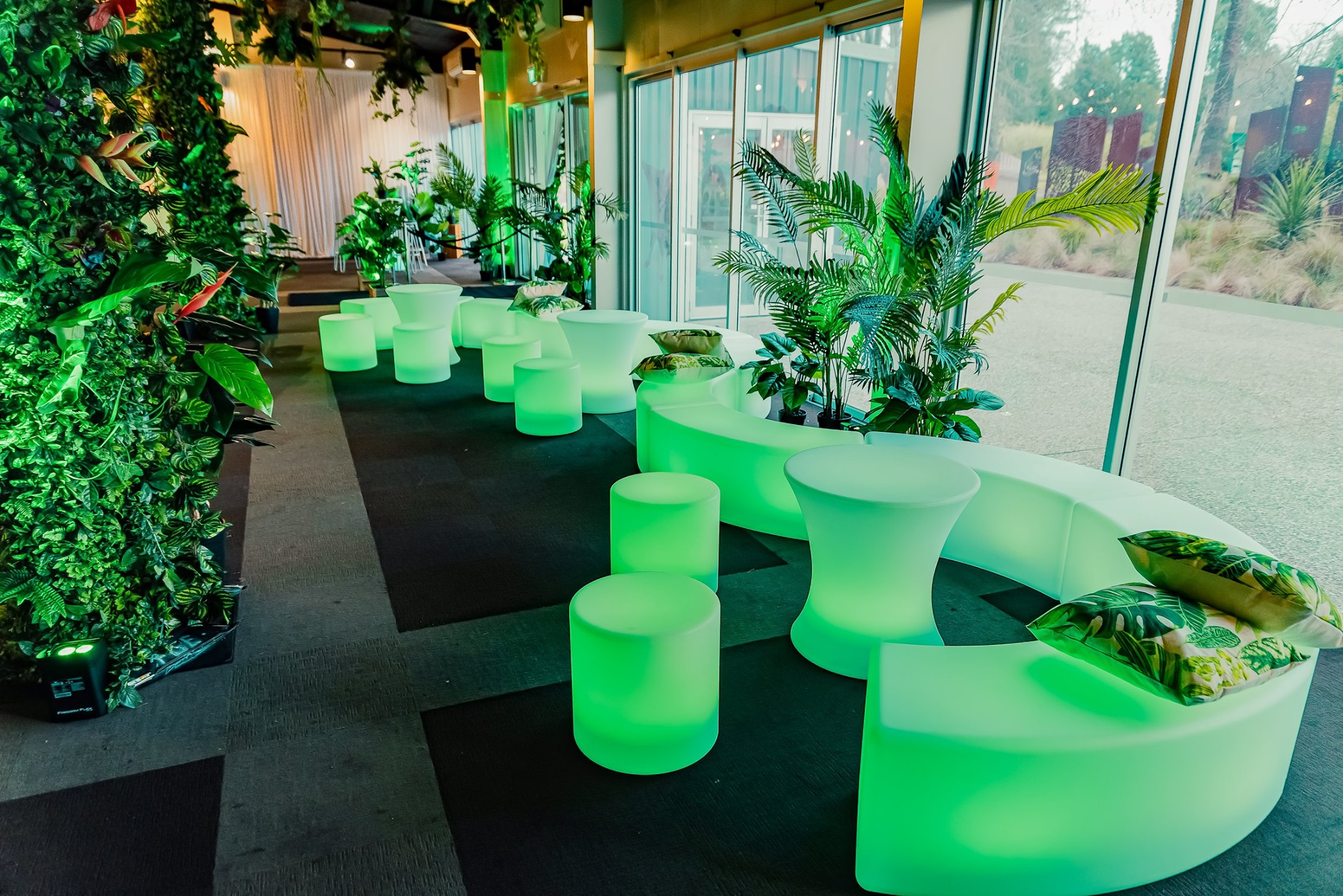 Curved LED Bench Stools
