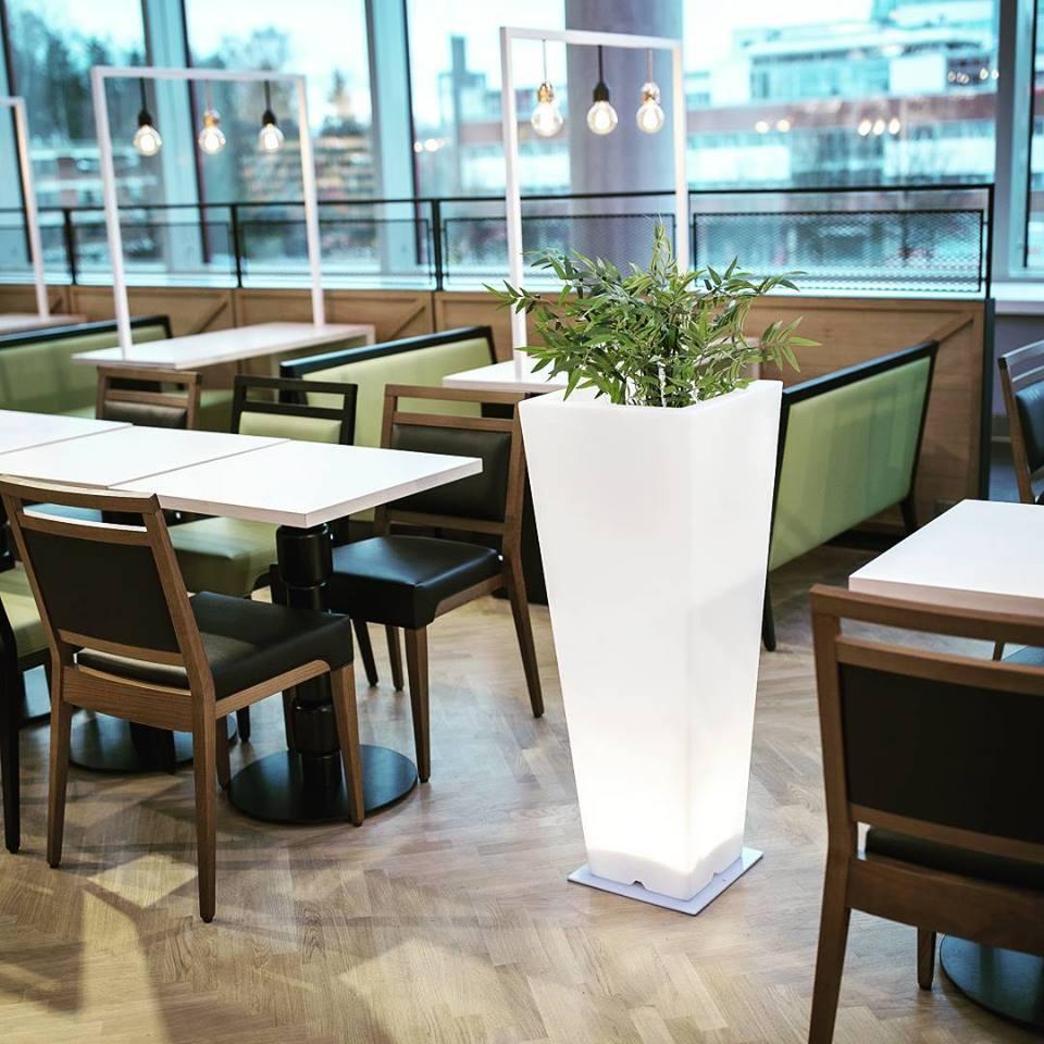 High Square LED Flower Pots