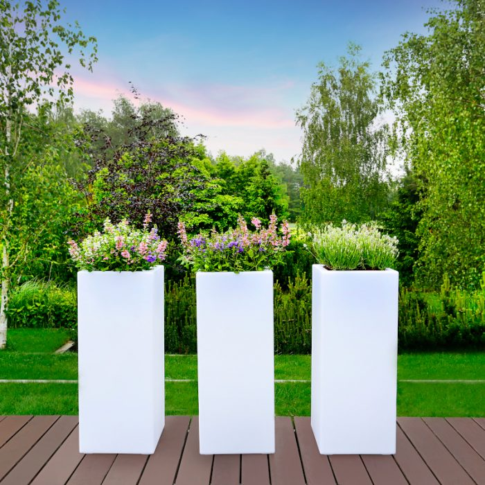 Square Column LED Flower Pots